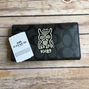 Coach Keith Haring Phone Case Canvas Black F67628